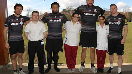 Saracens rugby players (L-R) Marcelo Bosch, James Johnston, Jim Hamilton and Chris Ashton with Mount