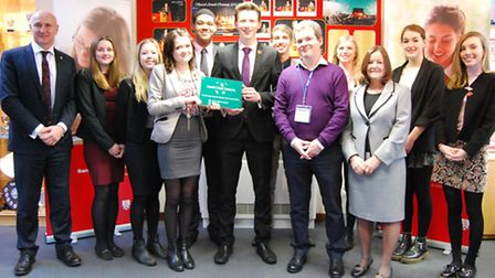 Sandringham School head and pupils with the accreditation