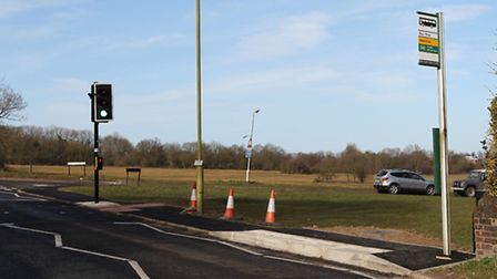The new bus stop and pedestrian crossing on Walkers Road, Harpenden