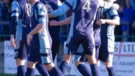 St Neots Town players celebrate Lee Clarke's opening goal in their 4-0 win against Cirencester on Ma