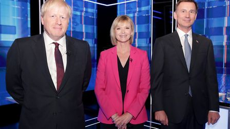 Conservative Party leadership candidate Boris Johnson, Julie Etchingham and Conservative Party leade