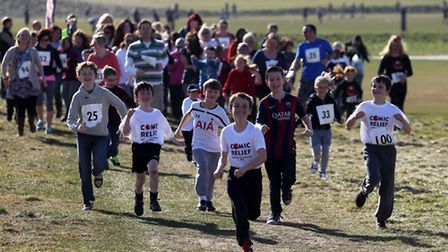 Runners take part in the Miranda gallop in Royston for Comic Relief