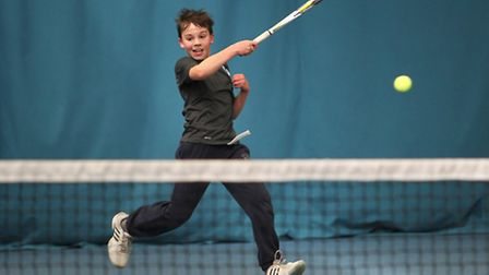 Oliver Tarvet of Batchwood tennis academy hits a forehand