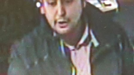 Herts Police have released this CCTV image of man they would like to speak to in connection with at