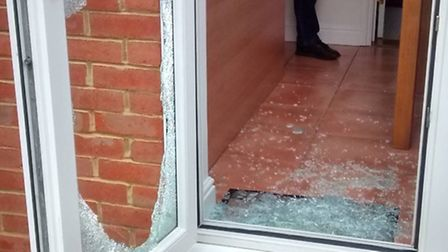 The door window thieves smashed through.