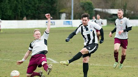 James Hall scores his first goal for St Ives Town in their 1-1 draw against Aylesbury on February 28