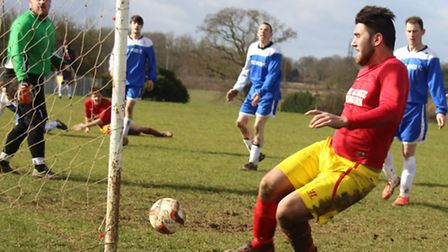 Marco Capontes scores for George Redbourn against Stonewood Reserves.