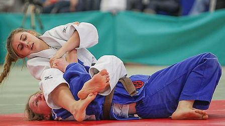 Lucy Day armlocks her opponent. Picture: Mike Varey