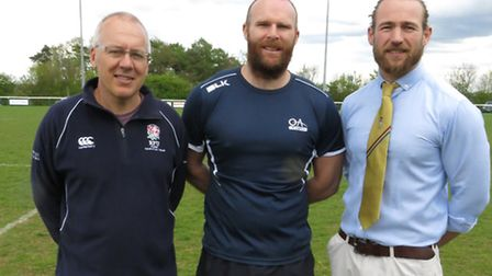 Old Albanian's new coaching team. From left: Harry Harrison, Colts coach, first-team head coach Jame