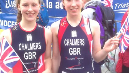 Sisters Amy (left) and Diana Chalmers who took gold and bronze respectively at the European Duathlon