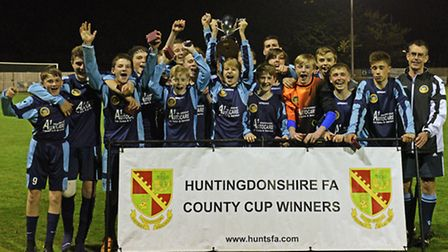 The St Neots Saints Under 14s squad of Sam Wilson, Owen Dunnett, Bailey Armiger, Harry Perry, James