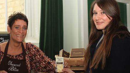 Harriet Knowles from Royston, tempted by the delicious home made goodies at the Chocnut Bliss stall