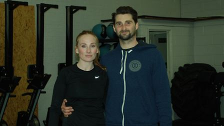 Rosie Marcel with Ben Stacey, owner of CrossFit St Albans