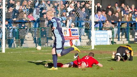 Lewis Hilliard celebrates scoring for St Neots Town in their 1-0 win over Bideford on March 28.