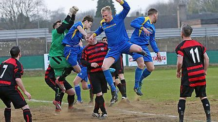 London Colney Blues Reserves pile on the pressure against Harpenden Rovers. Picture: Jim Whittamore
