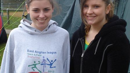 Chloe Wilson (left) and Charlie Batterbee (right) won the discus events for Hunts AC in their Southe