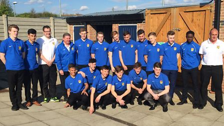 The Huntingdonshire FA Under 18 representative team pictured ahead of their Midlands Youth Champions
