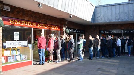 Customers queue outside Empire Records