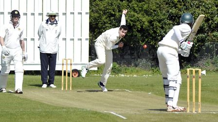 Chris Gilthorpe bowling for Kimbolton in their victory at Eaton Socon.