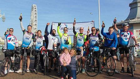 Cyclists taking part in the Mega Tri for Lola