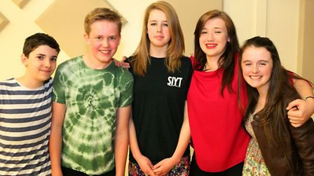 Annabelle, centre, who is doing the bean bath stunt, pictured with SIYT members (from left) Paul, Sa