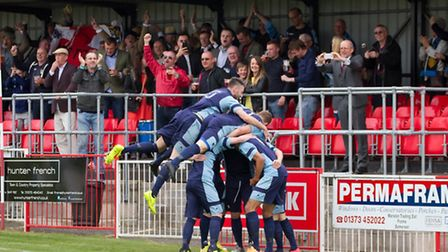St Neots Town players celebrate their goal at Frome. Picture by CLAIRE HOWES.