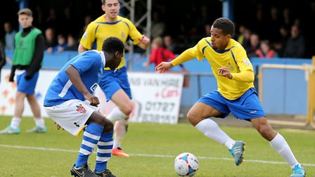Jo N'Guessan in action against Staines Town. Picture: Leigh Page
