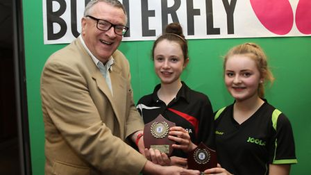 Charlotte Boston of St Neots (right) reached the final of the Butterfly Schools' National Table Tenn