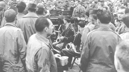 The Thunderbolts Band of the United States Army Air Forces 78th Fighter Group perform at the VE Day