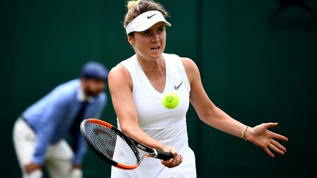 Elina Svitolina in action against Petra Martic on day seven of the Wimbledon Championships 2019. Pho