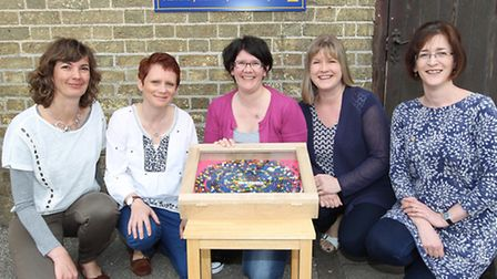 Fowlmere primary school art exhibition organisers (L-R) Dawn Roskilly, Jill Barker, Angela Mulhollan