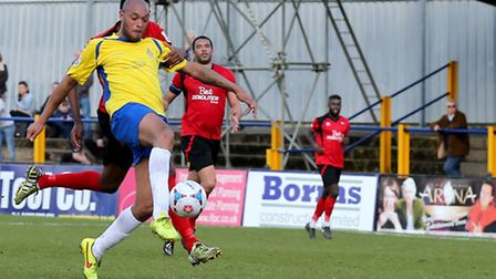 Simon Thomas looks to lob the keeper from the edge of the box. Picture: Leigh Page