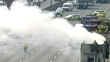 M1 lorry fire northbound between junctions eight and nine