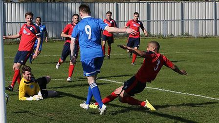 James Ewington scored both of London Colney's goals on Saturday. Picture: Jim Whittamore