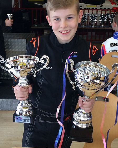 Josh Steed with two trophies. Picture: Andrew W Webb