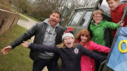 Heather, front, and Fred, back, with Steve Backshall and the other competition winners