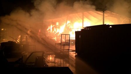 The fire at Tilbrook. Picture: CAMBS FIRE AND RESCUE SERVICE