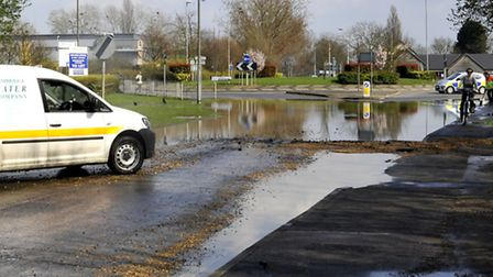 Burst water pipe, St Ives, at Tescos roundabout.