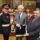At Alconbury Primary School, are (l-r) Lord-Lieutenant Hugh Duberly, Tim Meynell, with the British E