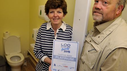 Loo Of The Year owners (l-r) Fiona and Carl Haynes, at Summerfield Caravan Park, Tilbrook,
