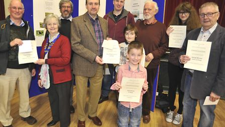 St Neots Photographic Society Photo Competition, with The Hunts Post, some of the winners, with (fro