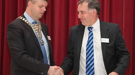 David Clarke (left) takes over the role as president of St Albans District Chamber of Commerce from
