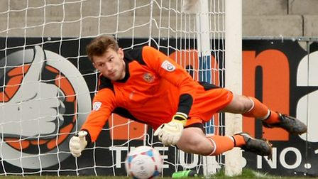 Joe Welch pulling of one of a number of saves during the game. Picture: Leigh Page