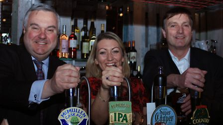 Oliver Heald, Laura Jay, manager of pub and Geraint, Royston town manager. PICTURE: Clive Porter.