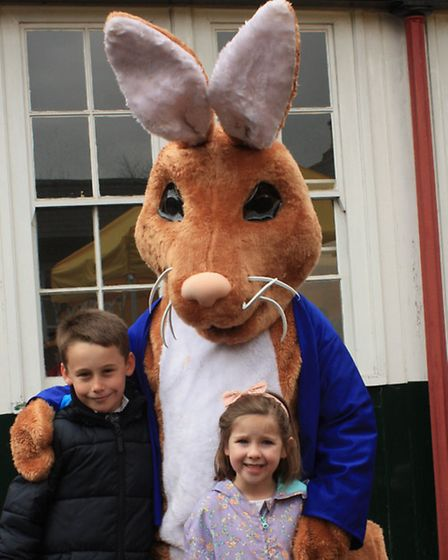 Nine-year-old Shane Balden, and six-year-old Sophie, both from Royston, meet up with the Easter rab
