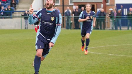 Lee Clarke celebrates his equaliser in St Neots Town's 3-3 draw against Dunstable on Easter Monday.