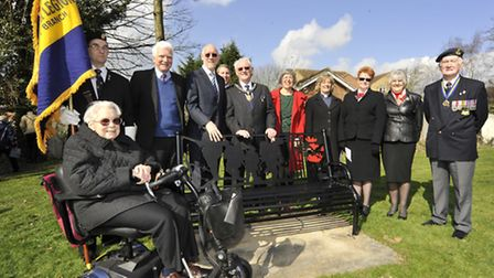 The bench is unveiled by St Ives Mayor Brian Luter, with, left, Ivor and Jeff's niece Miss Sheila Da
