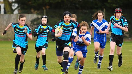 Action from St Albans Centurions U13s' 40-0 win over Colchester Rhinos. Pictures: John Cannon