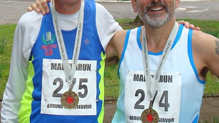 Jack Brooks and Graham Ridley after the Run Around the Reservoir Trail Marathon in Northampton.