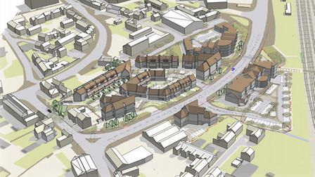 An artist's impression of how the Ermine Street end of the new Huntingdon West Link Road could look.